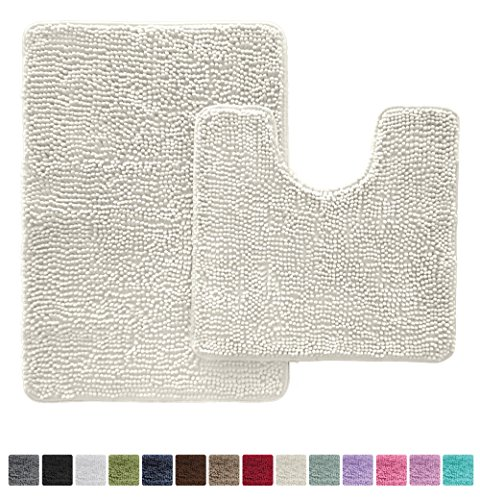 Gorilla Grip Original Shaggy Chenille Bathroom 2 Piece Rug Set Includes Mat Contoured Toilet 30 x 20 Carpet Rugs, Machine Wash/Dry, Perfect Plush Mats Tub, Shower & Bath Room (Ivory ()