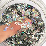 Butterfly Confetti Glitter Laser Sequins for DIY Crafts, Nail Art Decoration, Party Decoration - Holographic Silver, 4mm, 10g