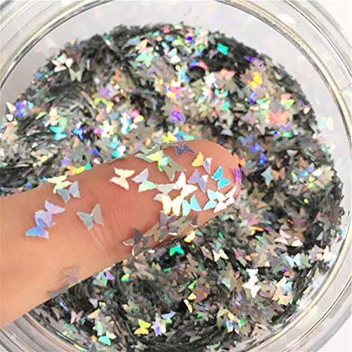 SKEMIX Butterfly Confetti Glitter Laser Sequins for DIY Crafts, Nail Art Decoration, Party Decoration – Holographic…