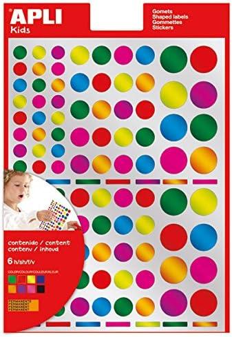 APLI Kids - Bolsa de gomets multicolor redondos, colores ...
