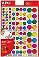 APLI Kids - Bolsa de gomets multicolor redondos, colores metalizados, 6 hojas - Pack de 624 gomets