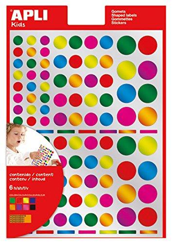 APLI Kids - Bolsa de gomets multicolor redondos, colores metalizados, 6 hojas 13529
