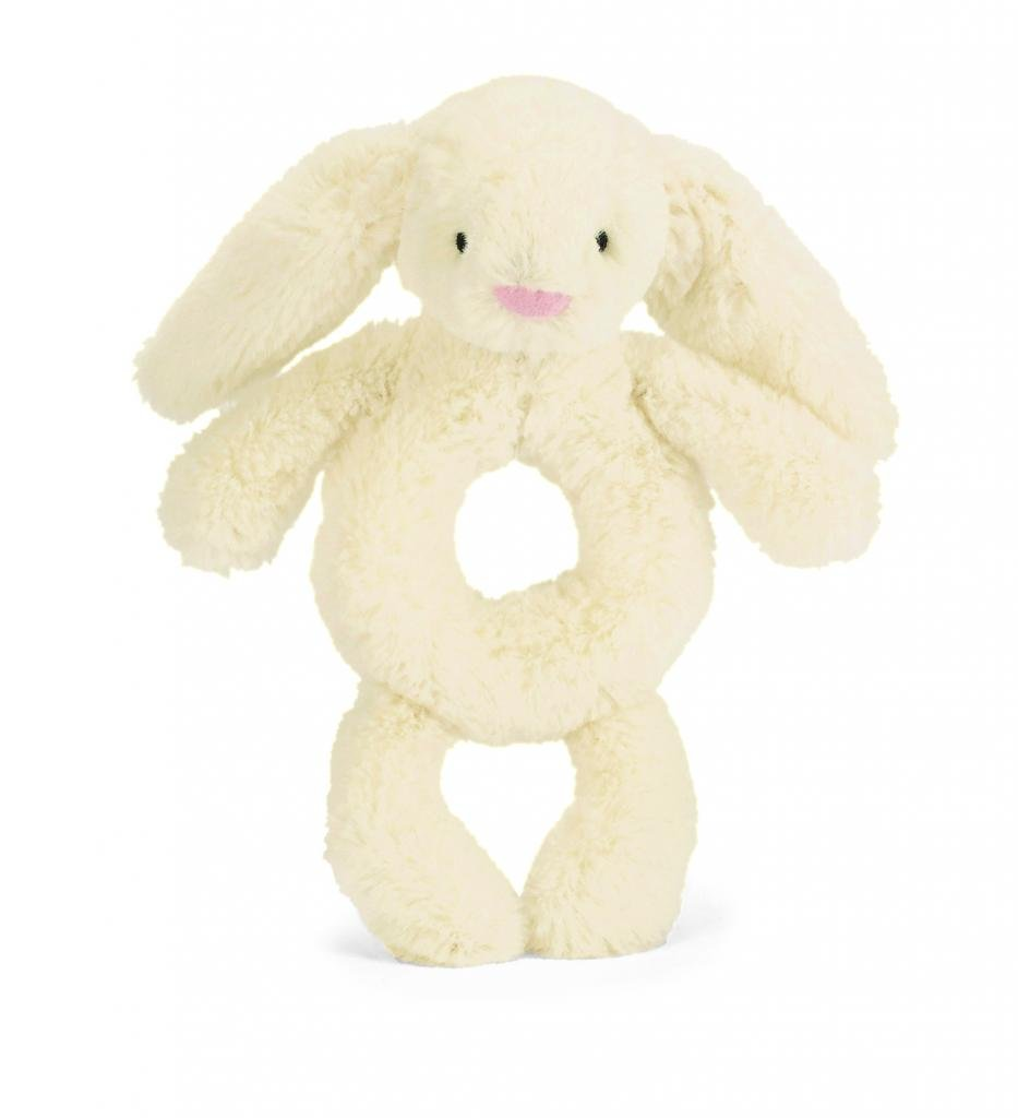 6 inches Jellycat Bashful Grey Bunny Ring Rattle