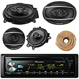 Pioneer DEH-S6000BS Car Bluetooth Radio USB AUX CD Player Receiver - Bundle with 2X TSA1670F 6.5'' 3-Way Car Audio Speakers - 2X 6.5-6.75'' 4-Way Stereo Speaker + Enrock 50Ft 18 Gauge Speaker Wire