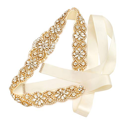 (Bridal Rhinestone Wedding Belts Hand Clear Crystal 22In Length For Bridal Gowns (Gold-Ivory))