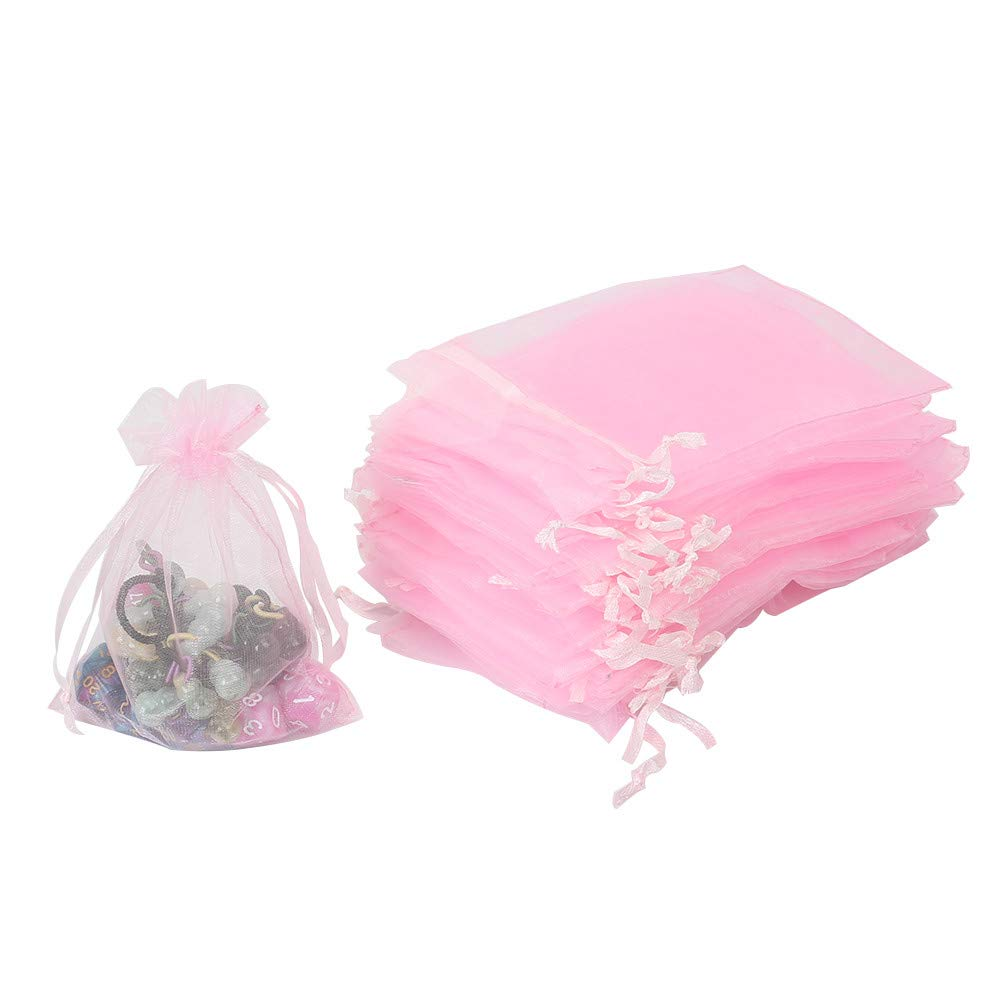 """HRX Package 100pcs Pink Organza Bags,4"""" x 6"""" Wedding Christmas Favors Gift Drawstring Bags Jewelry Pouches"""