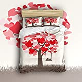 Libaoge 4 Piece Bed Sheets Set, Tree of Red Heart Shapes and Lovely Birds on Swing Print, 1 Flat Sheet 1 Duvet Cover and 2 Pillow Cases