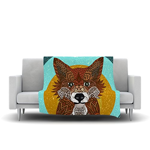 60 by 50 Kess InHouse Art Love Passion Colored Fox Blue Orange Fleece Throw Blanket