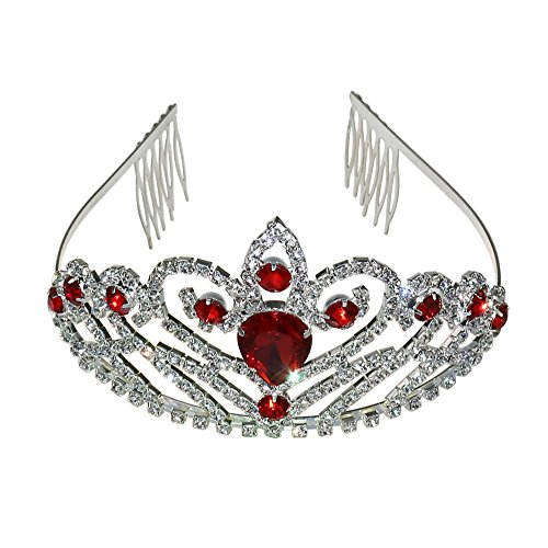 Women Luxurious Crystal Rhinestone Bridal Crown Princess Headpieces Girls Tiara Accessory with Comb … Silver & Red