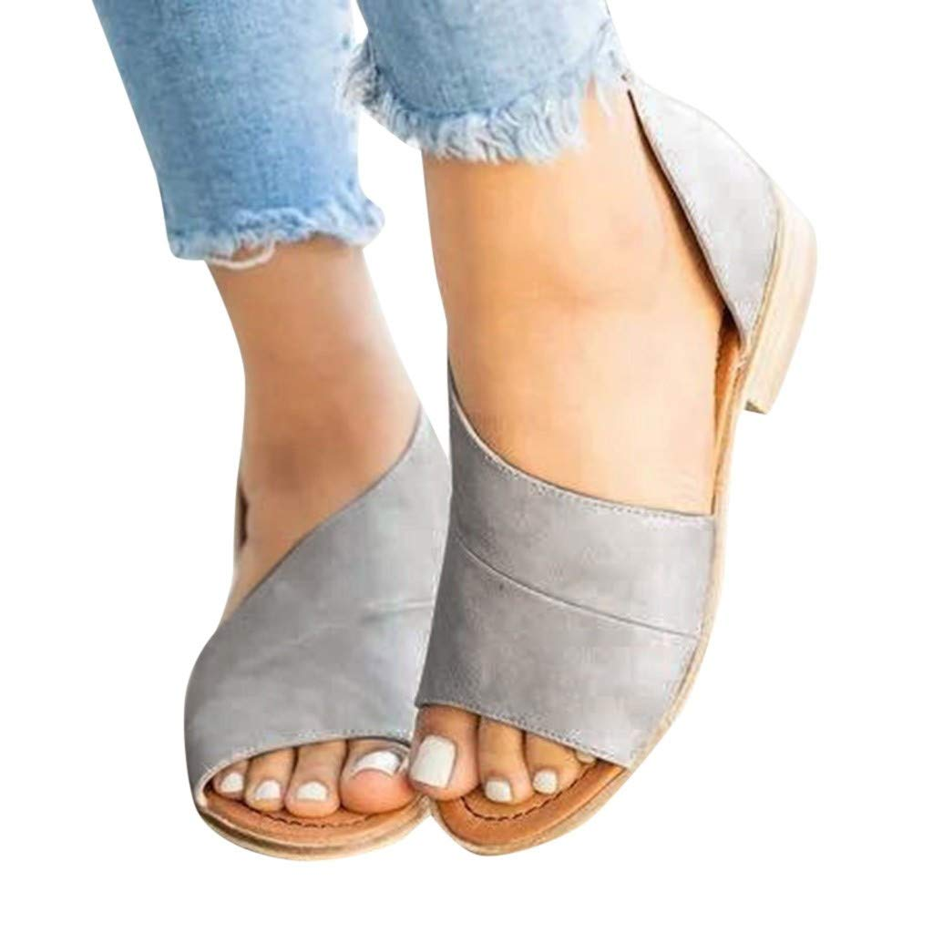 Ladies Sandals Bummyo Summer Sandals Wedge Sandals Fashion Casual Roman Open Toe Low With Leopard Print Square With Sandals(7.5M US, Gray)