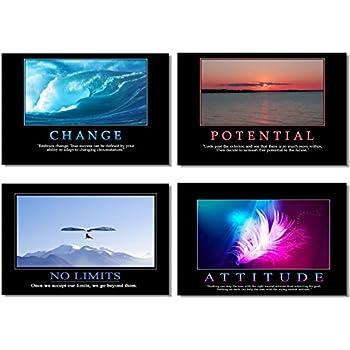 "4Pcs x Motivational Self Positive Office Quotes Inspirational Success Teamwork Poster Fabric Prints Wall Photos 20x13"" (50x33cm) (13-16)"