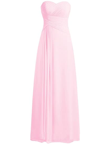 HUINI Strapless Long Chiffon Bridesmaid Prom Dresses Wedding Evening Party Gowns Pink UK24