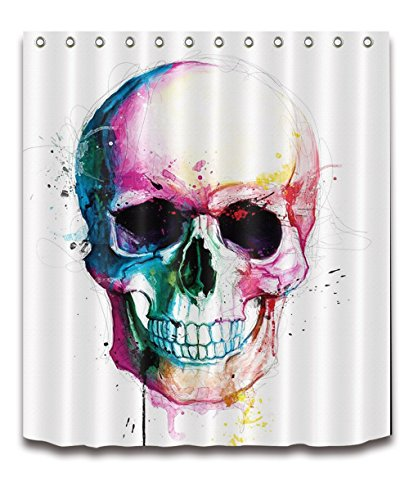 LB Colorful Halloween Skull Shower Curtains Skeleton Scary Eyes Fabric Bathroom Curtains 72x72 inch Polyester Anti Bacterial Waterproof with -