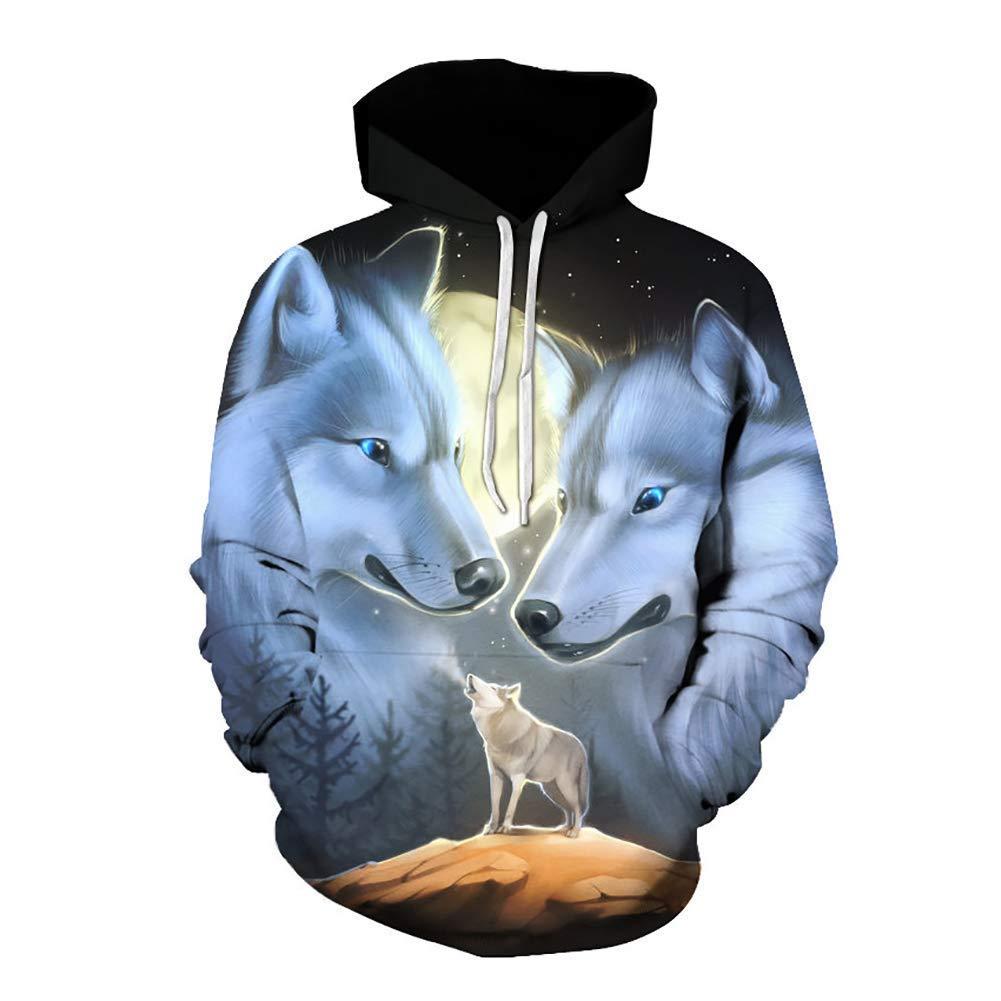 FuweiEncore Hoodies, Herren Herbst Winter 3D Hoodies Sweatshirts, Boy Qualität Pullover Mode Trainingsanzüge, Tier Streetwear Out Coat (Farbe   1, Größe   3XL) (Farbe   1, Größe   L)