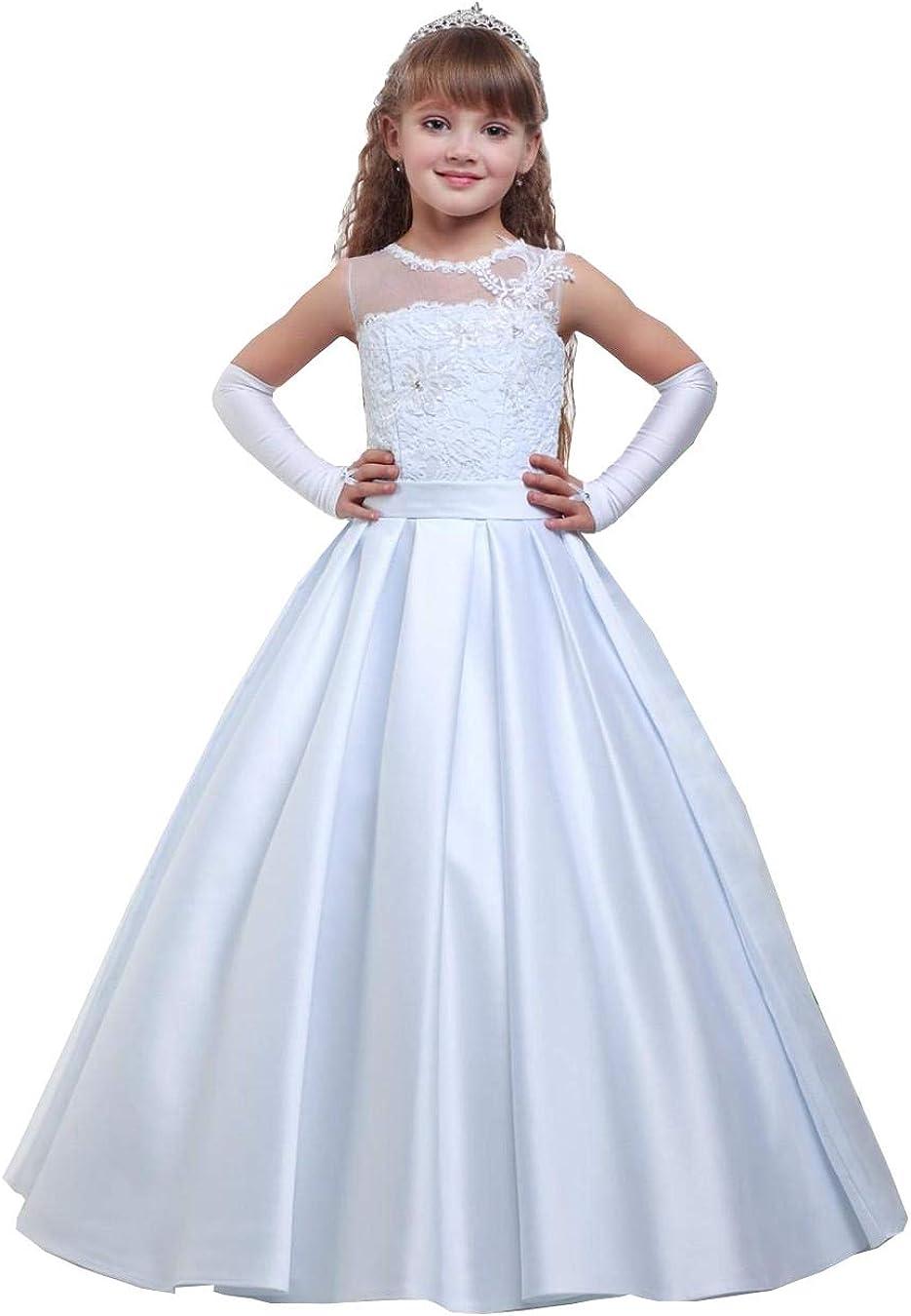 Girls Flower First Communion Dresses White Lace Sheer-neck Wedding Girl Dresses