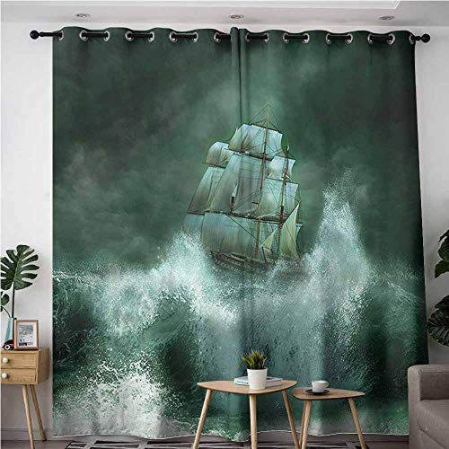 XXANS Sliding Door Curtains,Nautical,Old Vessel Against Waves,Grommet Curtains for Bedroom,W72x84L 95 Ice Grey Vessels