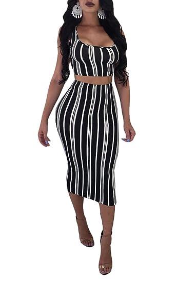 Ophestin Womens Sexy Stripe Print Sleeveless 2 Piece Midi Pencil