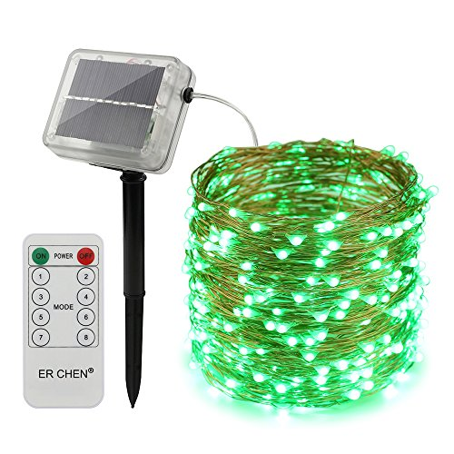(ErChen Remote Control Solar Powered Led String Lights, 100FT 300 Leds Copper Wire Waterproof 8 modes Decorative Fairy Lights for Outdoor Christmas Garden Patio yard (Green))