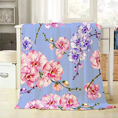 (Mugod Seamless Floral Pattern Throw Blanket Purple and Pink Orchid Flowers on Bright Blue Background Decorative Soft Warm Cozy Flannel Plush Throws Blankets for Baby Toddler Dog Cat 30 X 40 Inch)