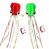 Octopus Kite, 2 Pack, Long Tail Beautiful Easy Flyer Kite, Beach Kite, Good Toys for Kids and Adults
