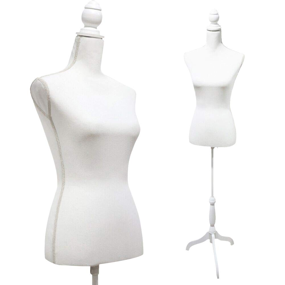 White Female Mannequin Torso Dress Form Tripod Stand Display by SHAREWIN