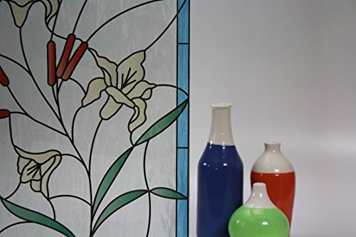 (Stained Glass Flowers & Cattails Feathered, Decorative, Privacy, Static Cling Window Film (17.5