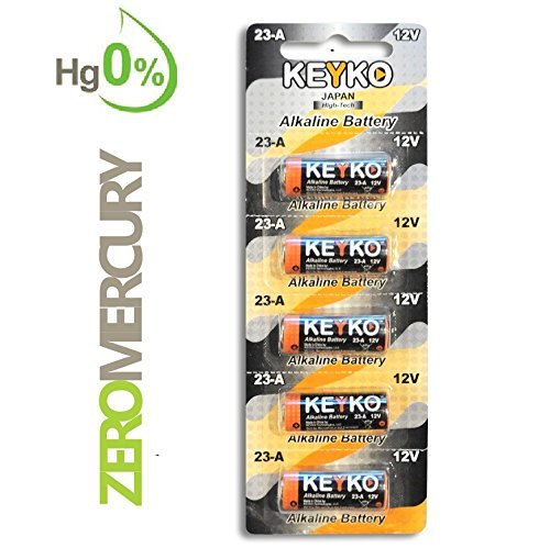 A23 Alkaline 12V Battery 23A . 5-Pcs Pack Genuine KEYKO ® JAPAN High Tech™ for Remote controls , alarm , keyless entry , electronics and so more