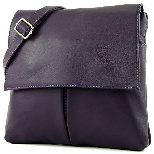 Italian bag shoulder bag messenger satchel women's bag real leather T63, Color: - Aubergine Italian