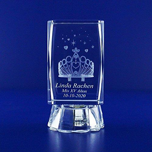 12 Pcs Personalized Customer Laser Engraving 3D Crystal Crown Cube Party Favors - Recuerdos de Quinceanera/ 3D imagen corona with Organza Bag (12pcs) (2.5
