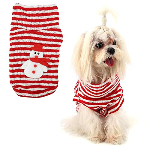 Yosooo Pet Vest Sweater, Pet Christmas Sweater Warm Striped Cute Puppy Clothes Xmas Dog Snowman Costume(M) -