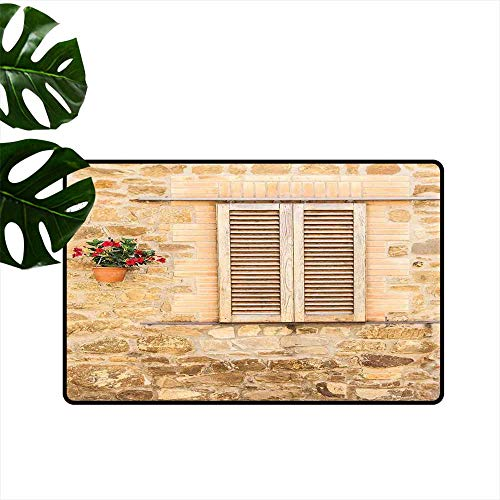 Tuscan,Custom Floor Mat Rustic Stone House and Window Shutters Flower Pot on Wall Italian Country Home Theme Kitchen Living Room Floor Mat Rug W 16