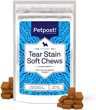 Petpost   Tear Stain Remover Soft Chews - Delicious Eye Stain Supplement for Dogs - Natural Treatment for Tear Stains on Dogs (90 Chews)