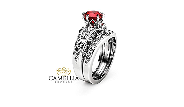 Ruby Ring  14k Natural Ruby and Diamond Ring  Natural Ruby Engagement Ring with Side Baguette and Round Diamonds  Valentines Gift Ring