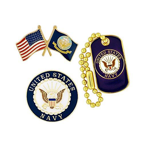 - PinMart USN Navy Military Patriotic Dog Tag Enamel Lapel Pin Set