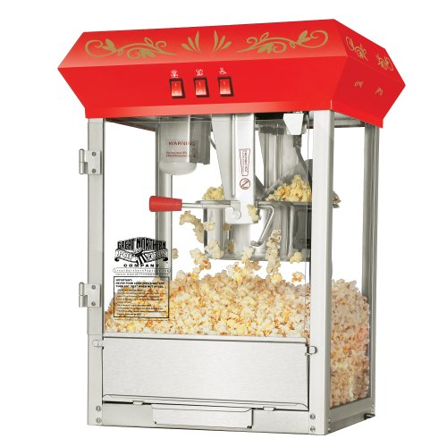 (6100 Great Northern Popcorn Red Countertop Foundation Popcorn Popper Machine, 8 Ounce)
