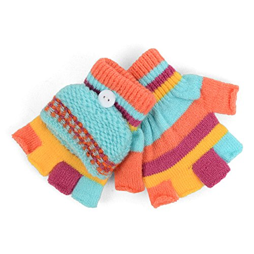 Children's Striped Convertible Mitten Gloves for Winter (Striped Convertible Glove)