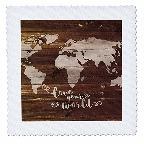 3dRose Russ Billington Designs - Love Your World- White Paint on Brown Wood Effect- Not Real Wood - 22x22 inch quilt square (qs_261907_9) by 3dRose (Image #1)