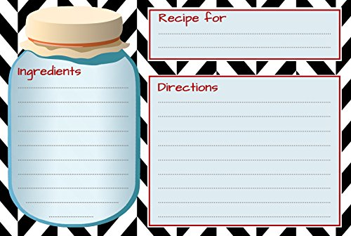 RECIPE card set of 50 identical double sided 4x6 cards with mason jar design. Great for housewarming gifts. Made in - Gift Jar Recipes