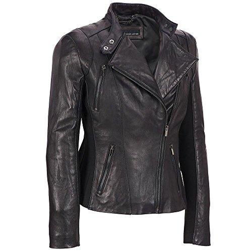Wilsons Leather Womens Plus Size Knit Inset Asymmetric Lamb Scuba (Detail Lamb Leather)