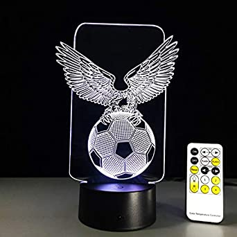 Fussball Eagle Shaped 3d Nachtlicht Hologramm Led Lampe Touch