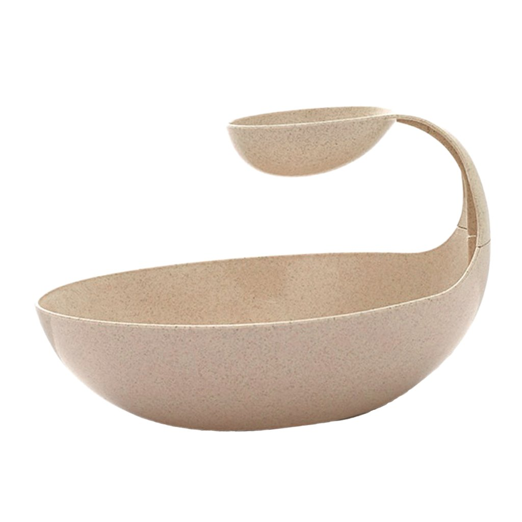 Beige Dolity 2 In 1 Food-Grade Fruit Basket Snack Compote Holder Candy Salad Dish Tray Plate Decoration