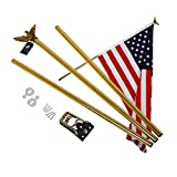 A-ONE 6 FT Aluminum Flag pole Kit, American US FlagPole with Golden Eagle Topper, Metal Bracket Free & Hardware for Outdoor Residential or Commercial Wall Mount, Rust-Proof, 3-Sections, Golden