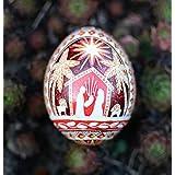 Nativity set Christmas Pysanka Ukrainian Easter egg hand decorated chicken egg shell in batik Christian gifts