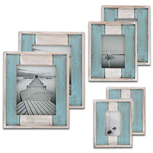 (Barnyard Designs Rustic Distressed Picture Frame Set, Photo Frame in White and Turquoise (2, Variety Pack))