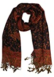 Peach Couture Elegant Reversible Paisley Pashmina Shawl Wrap (Red and Black)