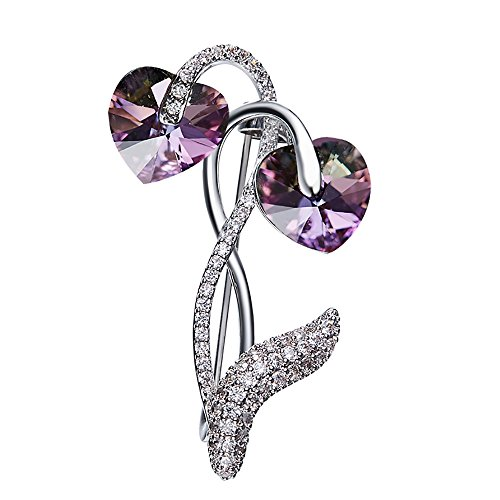 Hearted Flower Merry Christmas Brooches For Women Swarovski Element Crystals (Style Swarovski Brooch Crystal)