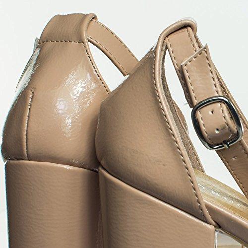 Bambus Blokk Hæl Platofrm Åpen Tå Kjole Sandal W Ankel Stropp Naken Patent