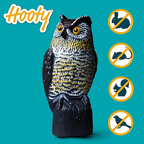 Livin' Well Scarecrow Owl Decoy w/ Light-Up Owls Eyes & Sounds, Solar, Motion-Activated