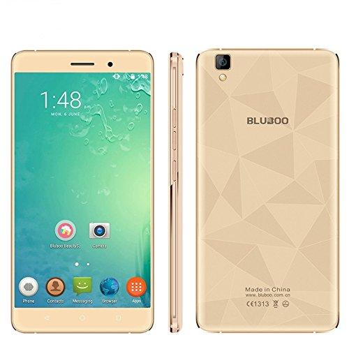 "Bluboo Maya 5.5"" 1280x720 Android 6.0 Unlocked Smartphone MT6580A 1.3GHz Quad Core 13.0MP 2GB+16GB 3G WCDMA Metal Body 5.5inch Unlocked Cell Phones (Gold)"