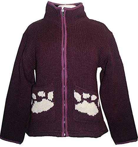 910 WJ Wool Fleece Lined Sherpa Paw Knit Cardigan Jacket (M, Plum)